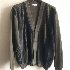 Vtg leather grandpa sweater cardigan button up
